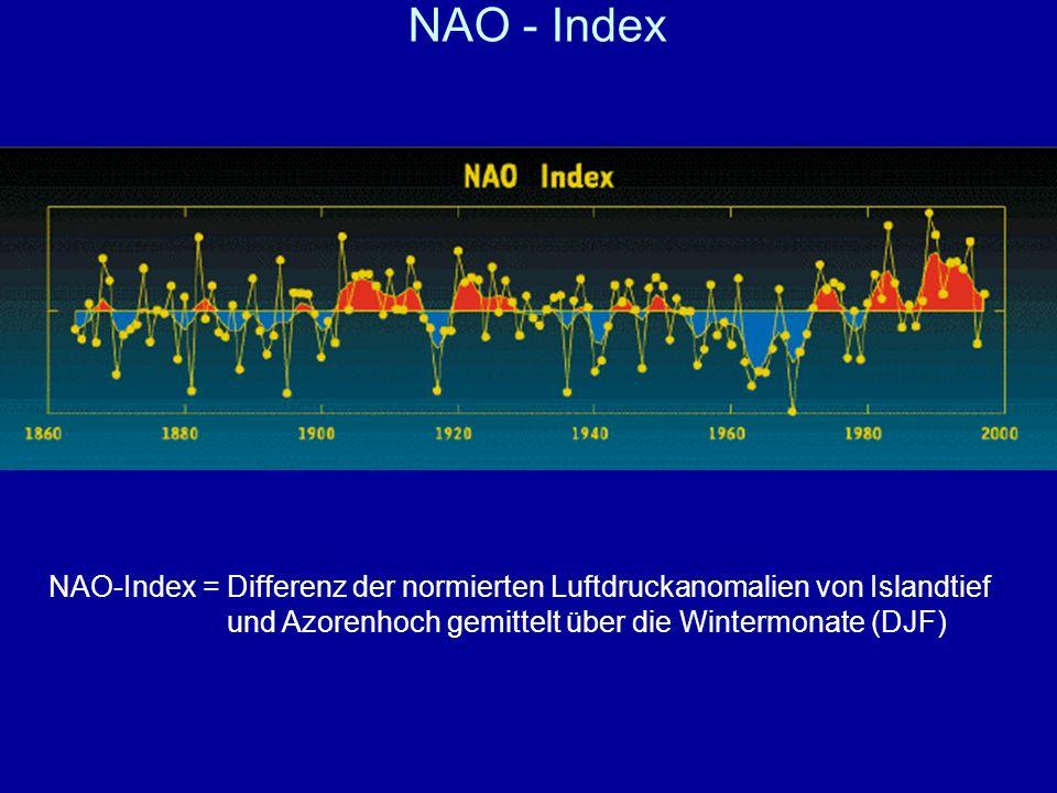 NAO - Index NAO-Index = Differenz der normierten Luftdruckanomalien von Islandtief und Azorenhoch gemittelt über die Wintermonate (DJF)