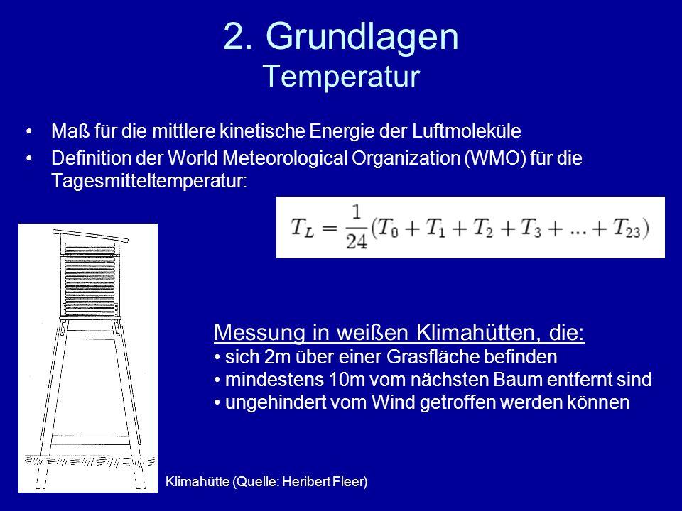 2. Grundlagen Temperatur Maß für die mittlere kinetische Energie der Luftmoleküle Definition der World Meteorological Organization (WMO) für die Tages