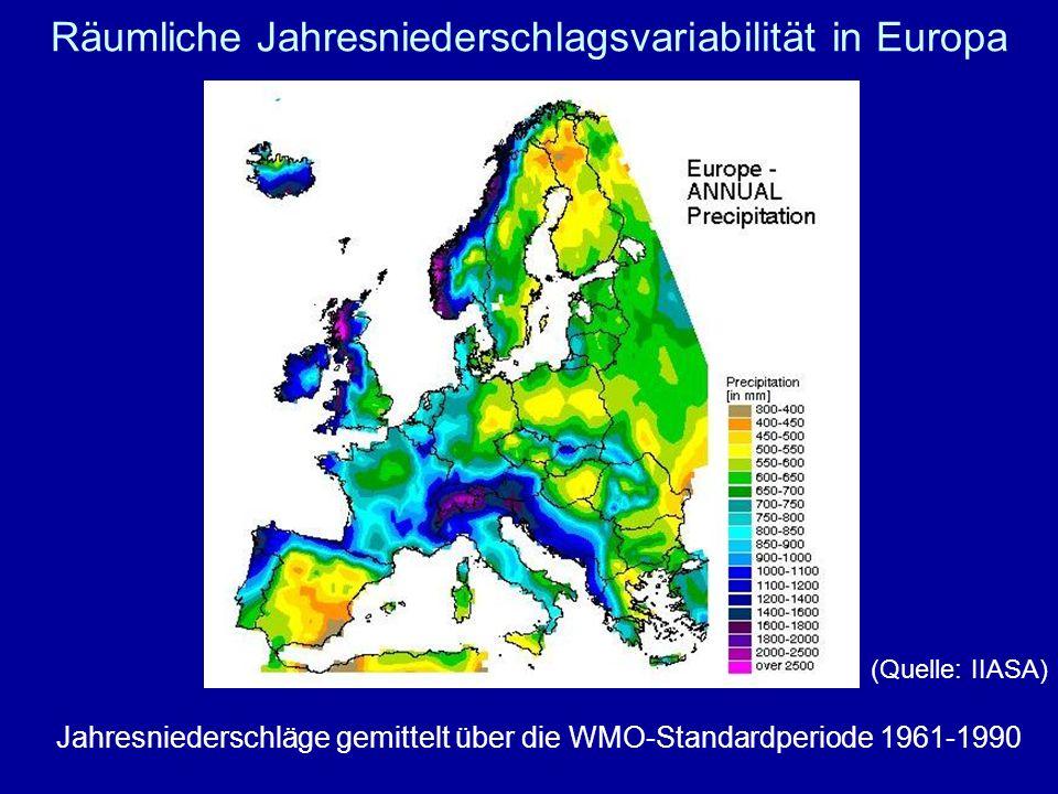 Räumliche Jahresniederschlagsvariabilität in Europa Jahresniederschläge gemittelt über die WMO-Standardperiode 1961-1990 (Quelle: IIASA)