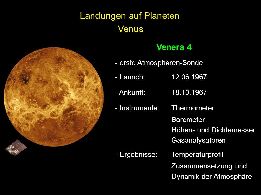 Venus Venera 4 - erste Atmosphären-Sonde - Launch: 12.06.1967 - Ankunft:18.10.1967 - Instrumente:Thermometer Barometer Höhen- und Dichtemesser Gasanal