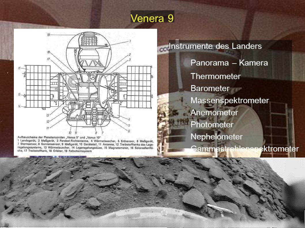 Instrumente des Landers Panorama – Kamera Thermometer Barometer Massenspektrometer Anemometer Photometer Nephelometer Gammastrahlenspektrometer Strahl
