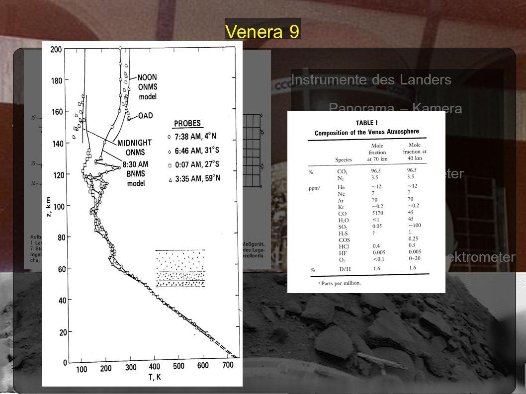 Venera 9 Instrumente des Landers Panorama – Kamera Thermometer Barometer Massenspektrometer Anemometer Photometer Nephelometer Gammastrahlenspektromet