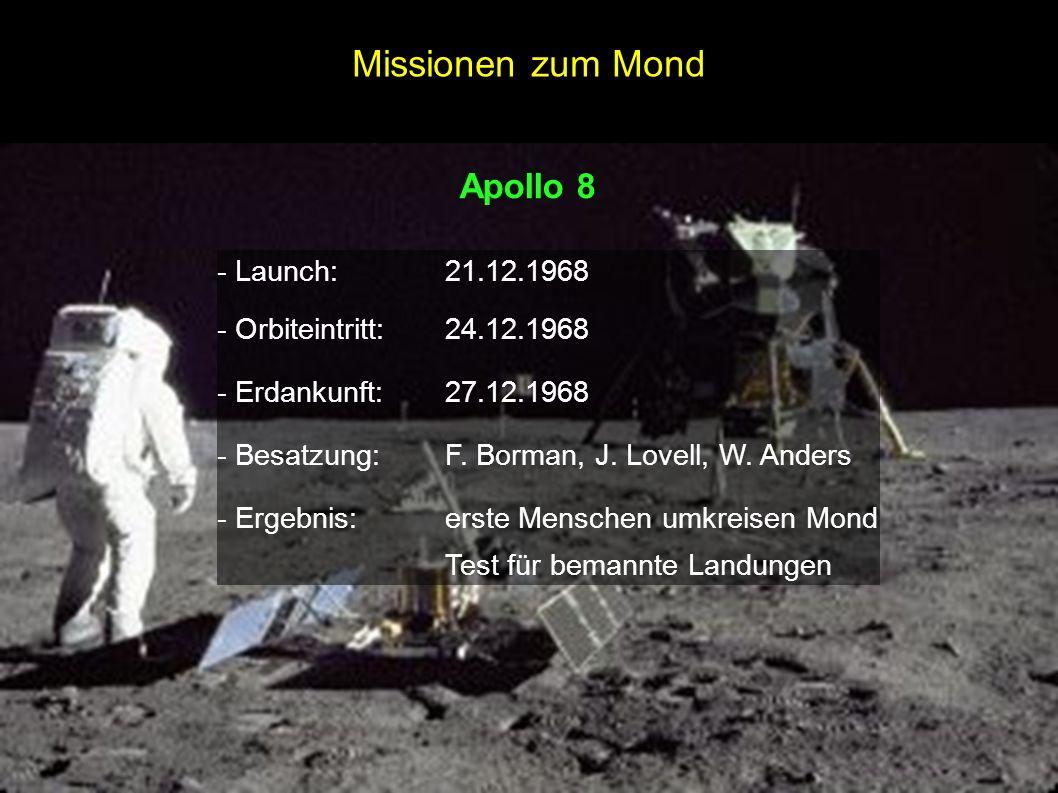 Apollo 8 - Launch:21.12.1968 - Orbiteintritt:24.12.1968 - Erdankunft:27.12.1968 - Besatzung:F. Borman, J. Lovell, W. Anders - Ergebnis:erste Menschen