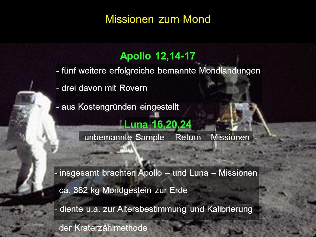- fünf weitere erfolgreiche bemannte Mondlandungen - drei davon mit Rovern - aus Kostengründen eingestellt Apollo 12,14-17 Luna 16,20,24 - unbemannte