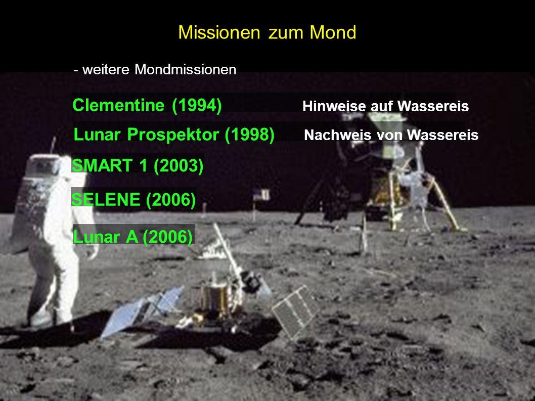 Missionen zum Mond - weitere Mondmissionen Clementine (1994) Hinweise auf Wassereis Lunar Prospektor (1998) Nachweis von Wassereis SMART 1 (2003) SELE
