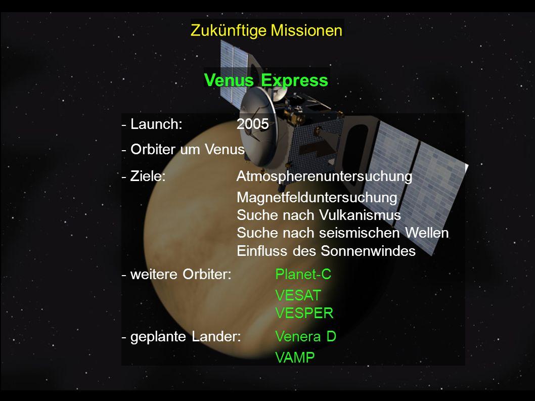Venus Express - Launch:2005 - Orbiter um Venus - Ziele:Atmospherenuntersuchung Magnetfelduntersuchung Suche nach Vulkanismus Suche nach seismischen We