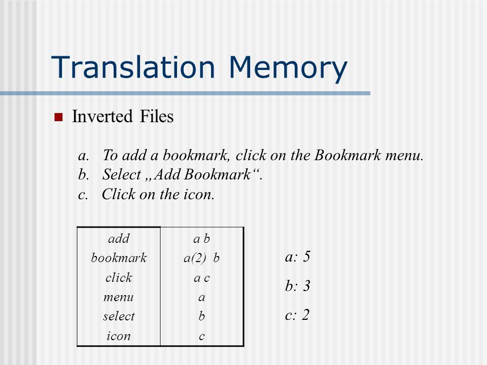 Translation Memory Inverted Files add bookmark click menu select icon a b a(2) b a c a b c a. To add a bookmark, click on the Bookmark menu. b. Select