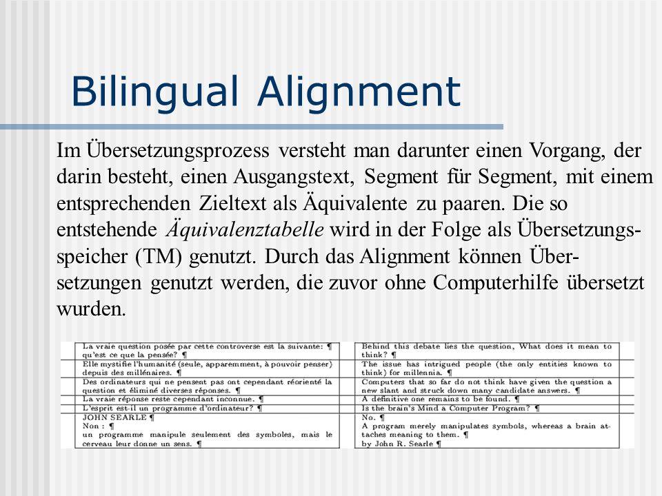 Bilingual Alignment Im Übersetzungsprozess versteht man darunter einen Vorgang, der darin besteht, einen Ausgangstext, Segment für Segment, mit einem