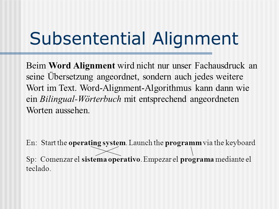 Subsentential Alignment Beim Word Alignment wird nicht nur unser Fachausdruck an seine Übersetzung angeordnet, sondern auch jedes weitere Wort im Text