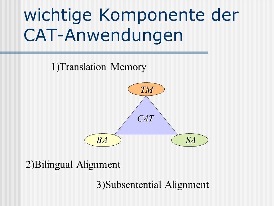 wichtige Komponente der CAT-Anwendungen 2)Bilingual Alignment 3)Subsentential Alignment 1)Translation Memory TM CAT BASA