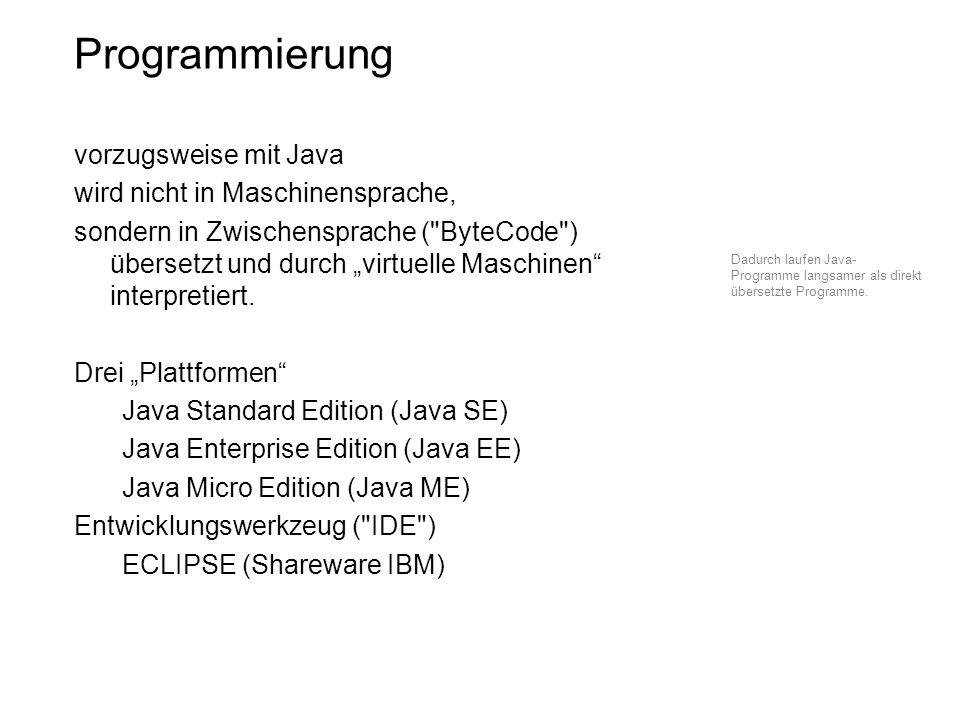 Programmierung vorzugsweise mit Java wird nicht in Maschinensprache, sondern in Zwischensprache (