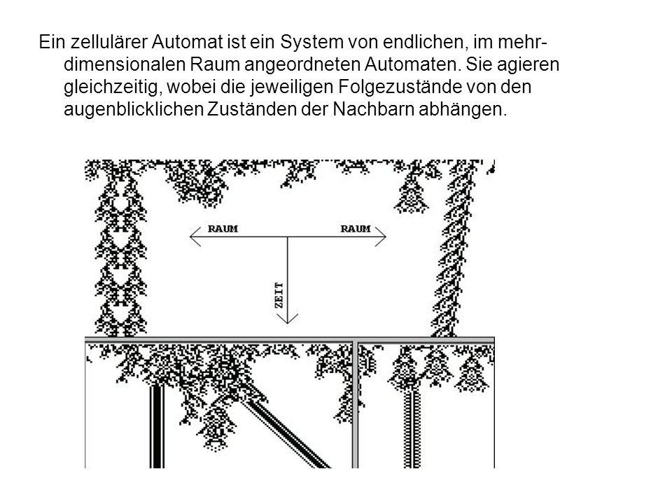 Ein zellulärer Automat ist ein System von endlichen, im mehr- dimensionalen Raum angeordneten Automaten. Sie agieren gleichzeitig, wobei die jeweilige
