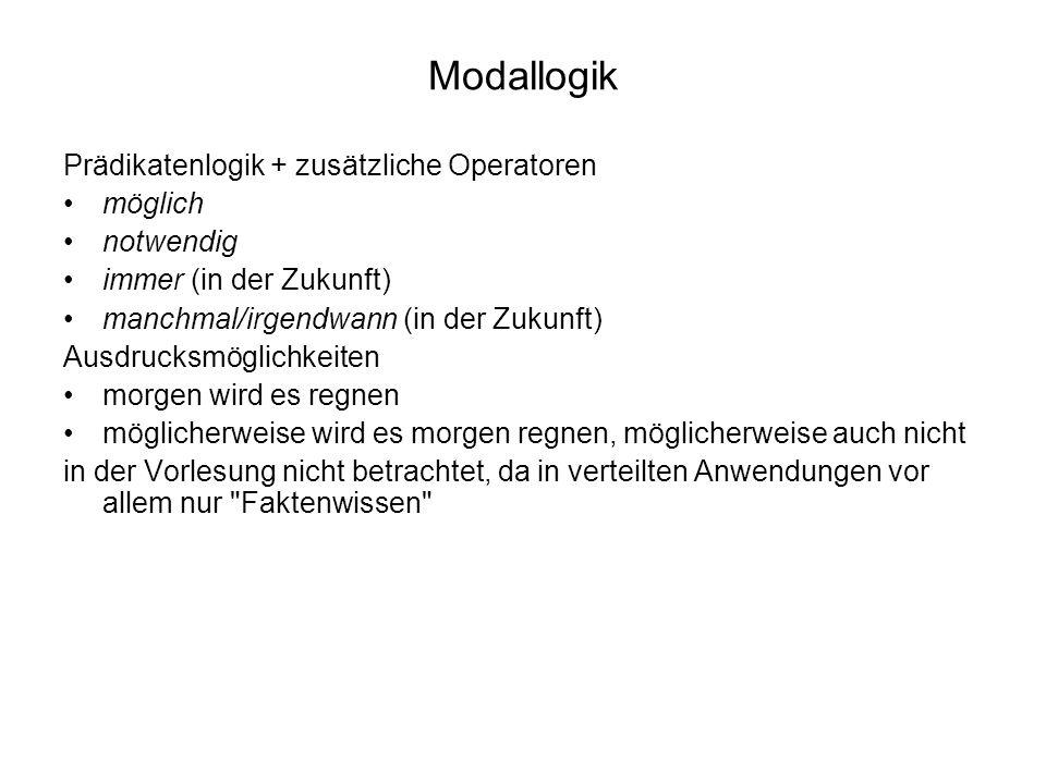 Modallogik Prädikatenlogik + zusätzliche Operatoren möglich notwendig immer (in der Zukunft) manchmal/irgendwann (in der Zukunft) Ausdrucksmöglichkeit