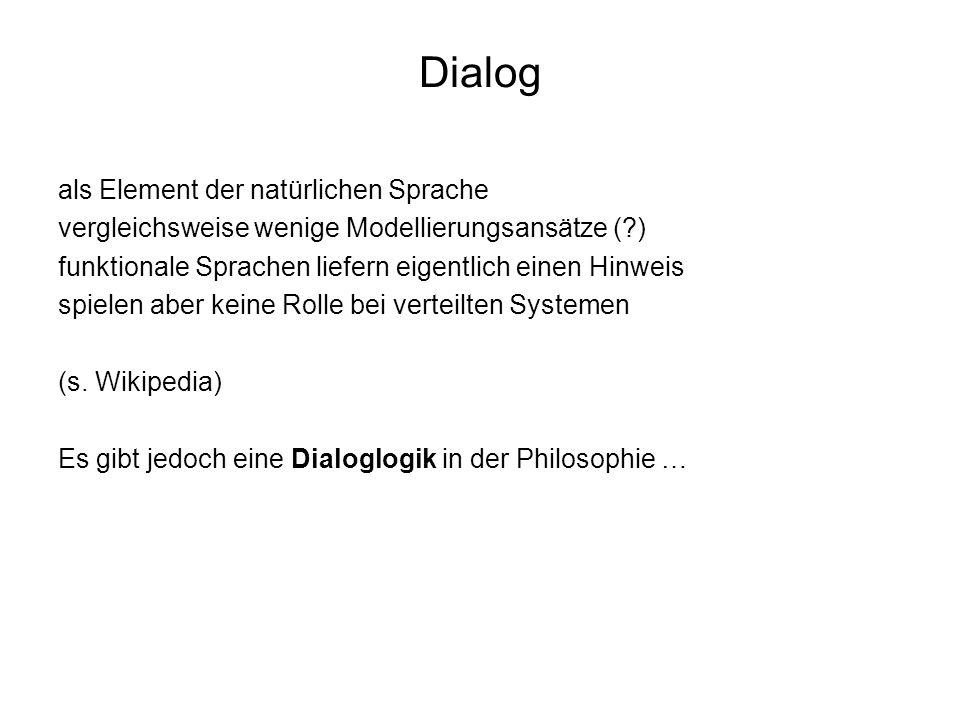 Dialog als Element der natürlichen Sprache vergleichsweise wenige Modellierungsansätze (?) funktionale Sprachen liefern eigentlich einen Hinweis spiel