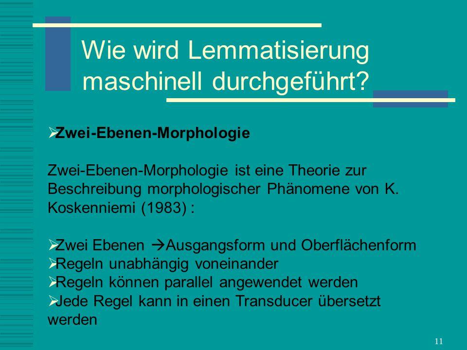 11 Zwei-Ebenen-Morphologie Zwei-Ebenen-Morphologie ist eine Theorie zur Beschreibung morphologischer Phänomene von K. Koskenniemi (1983) : Zwei Ebenen
