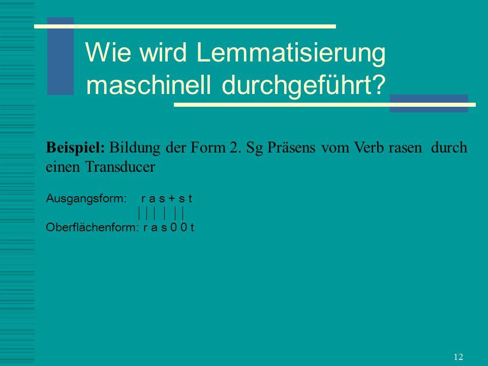 12 Beispiel: Bildung der Form 2. Sg Präsens vom Verb rasen durch einen Transducer Ausgangsform: r a s + s t Oberflächenform: r a s 0 0 t Wie wird Lemm