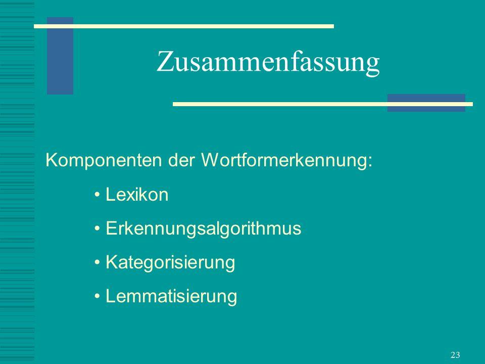 23 Zusammenfassung Komponenten der Wortformerkennung: Lexikon Erkennungsalgorithmus Kategorisierung Lemmatisierung