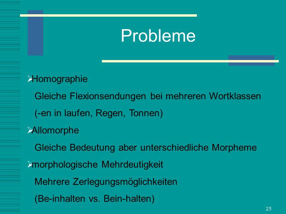 25 Probleme Homographie Gleiche Flexionsendungen bei mehreren Wortklassen (-en in laufen, Regen, Tonnen) Allomorphe Gleiche Bedeutung aber unterschied