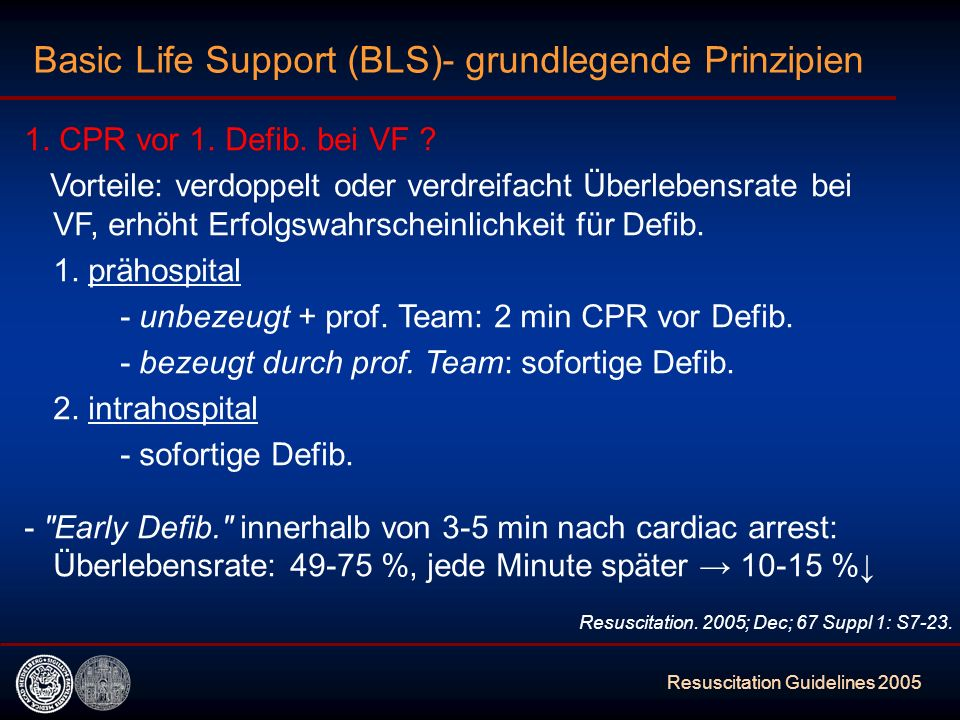 Resuscitation Guidelines 2005 What is new .-mehr Thoraxkompressionen (30:2) anstatt 15:2 (für Erw.