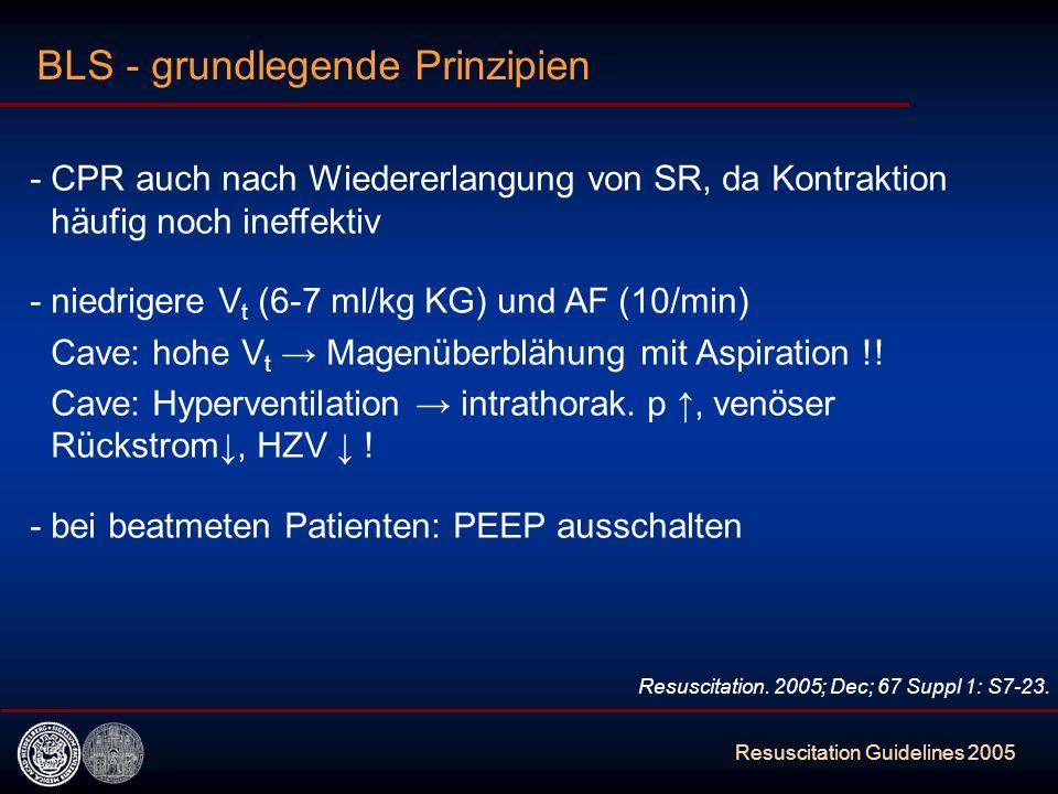Resuscitation Guidelines 2005 - CPR auch nach Wiedererlangung von SR, da Kontraktion häufig noch ineffektiv - niedrigere V t (6-7 ml/kg KG) und AF (10