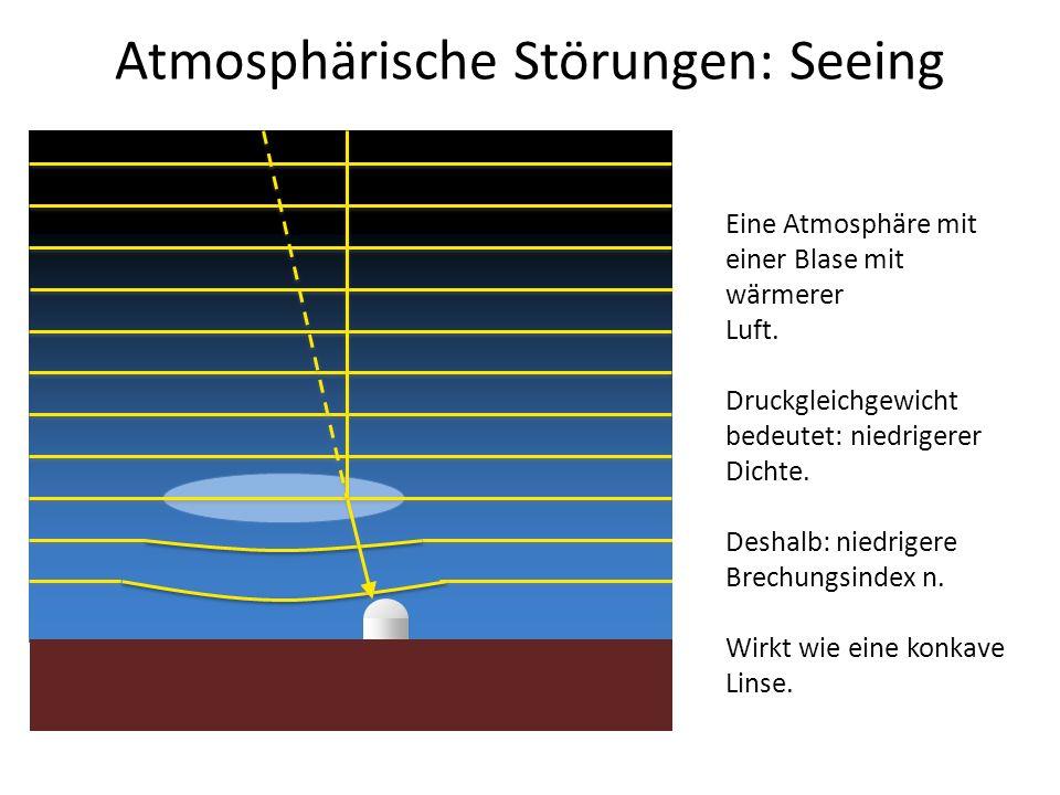 Atmosphärische Störungen: Seeing Eine Atmosphäre mit einer Blase mit wärmerer Luft. Druckgleichgewicht bedeutet: niedrigerer Dichte. Deshalb: niedrige