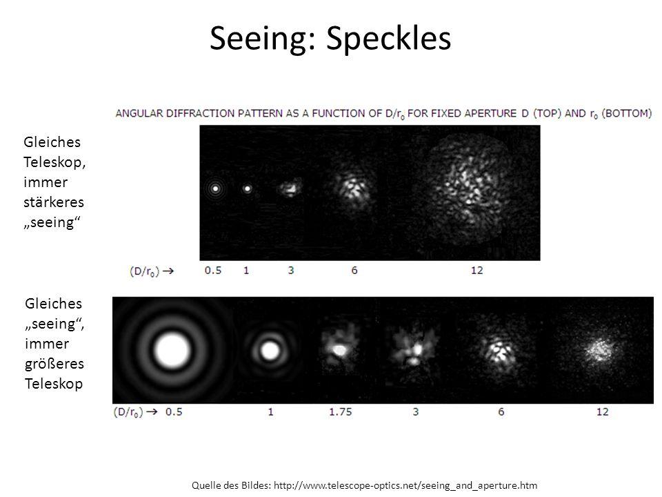 Seeing: Speckles Gleiches Teleskop, immer stärkeres seeing Gleiches seeing, immer größeres Teleskop Quelle des Bildes: http://www.telescope-optics.net