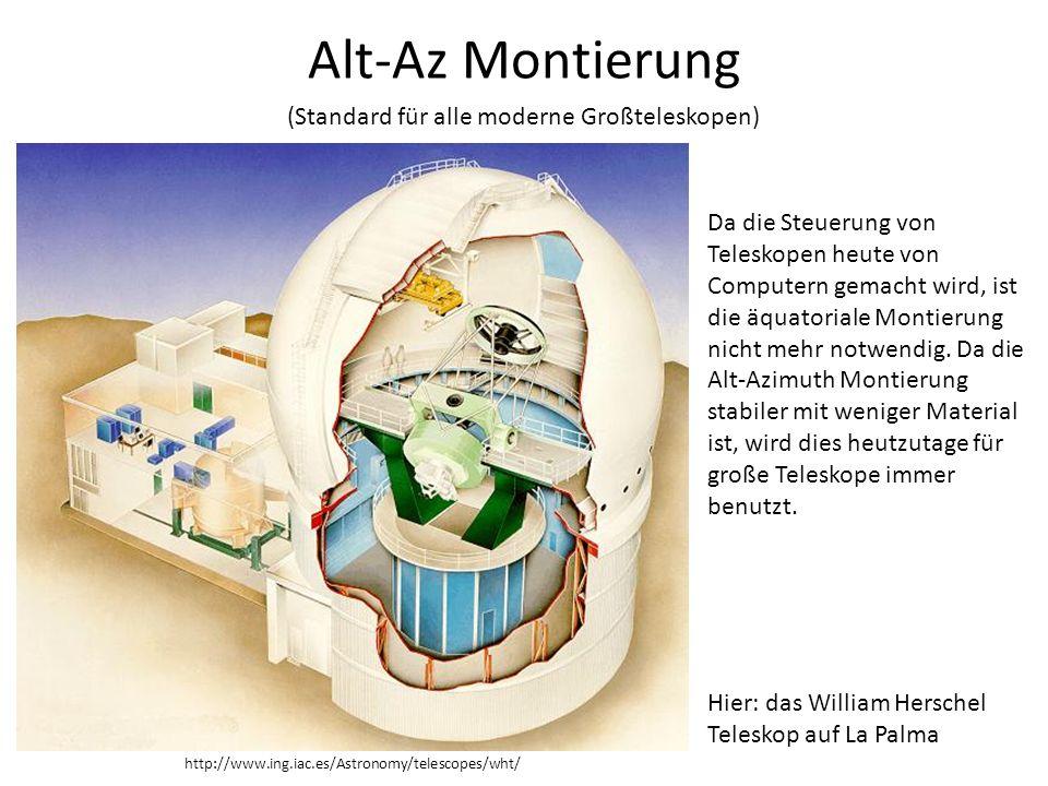Alt-Az Montierung (Standard für alle moderne Großteleskopen) Da die Steuerung von Teleskopen heute von Computern gemacht wird, ist die äquatoriale Mon