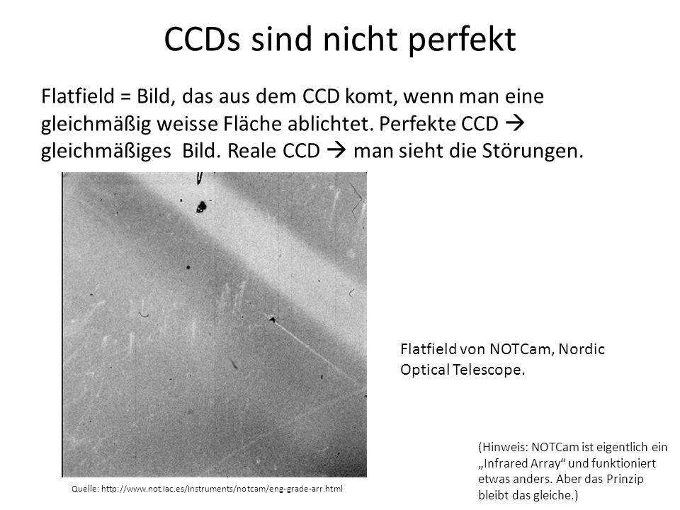 CCDs sind nicht perfekt Flatfield = Bild, das aus dem CCD komt, wenn man eine gleichmäßig weisse Fläche ablichtet. Perfekte CCD gleichmäßiges Bild. Re