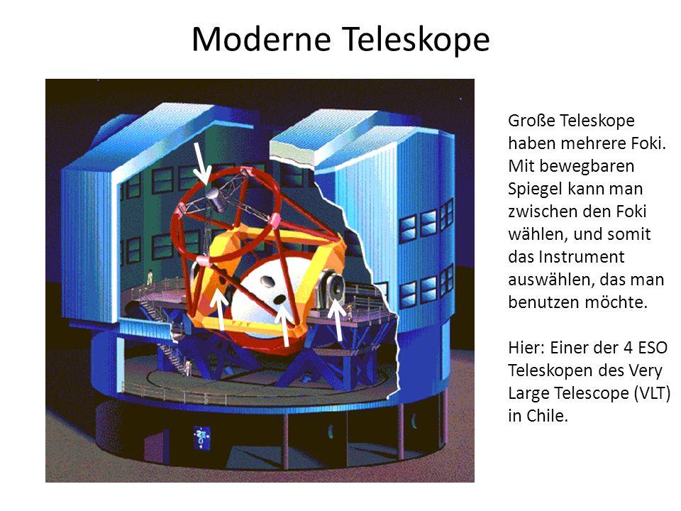 Moderne Teleskope Große Teleskope haben mehrere Foki. Mit bewegbaren Spiegel kann man zwischen den Foki wählen, und somit das Instrument auswählen, da