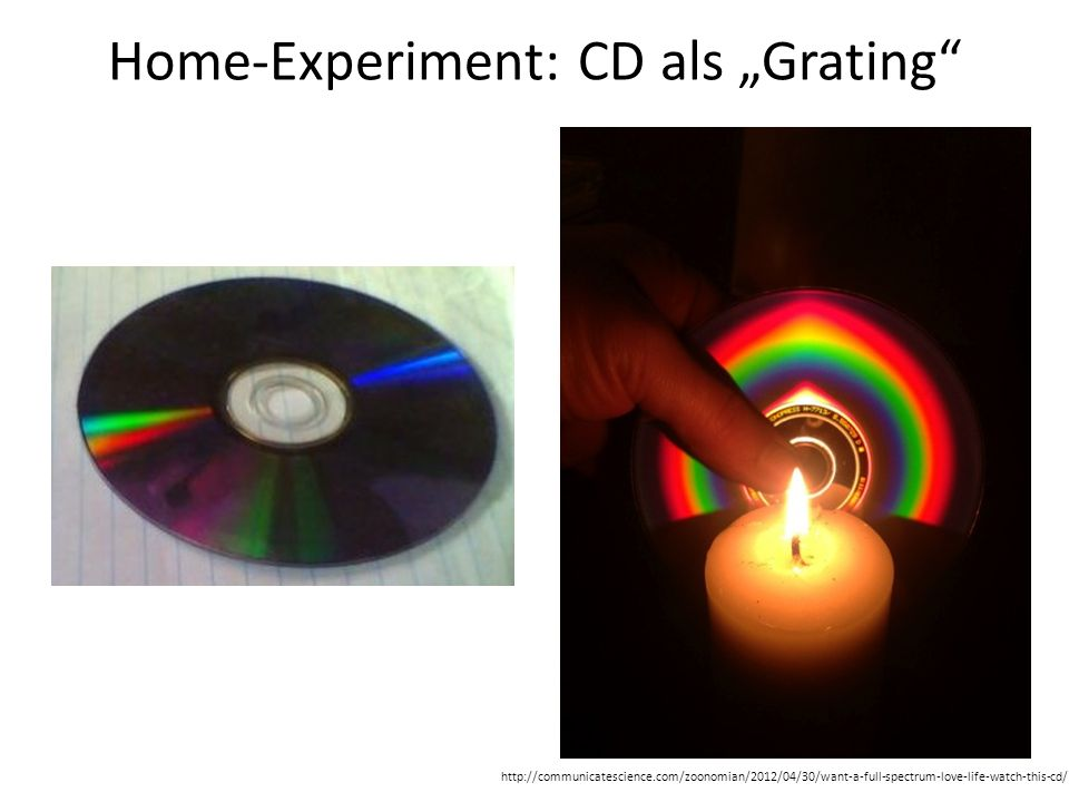 Home-Experiment: CD als Grating http://communicatescience.com/zoonomian/2012/04/30/want-a-full-spectrum-love-life-watch-this-cd/
