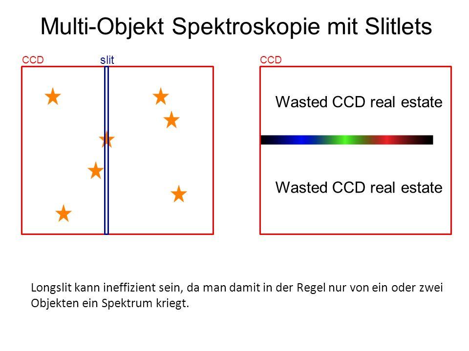 Multi-Objekt Spektroskopie mit Slitlets CCD slit CCD Wasted CCD real estate Longslit kann ineffizient sein, da man damit in der Regel nur von ein oder
