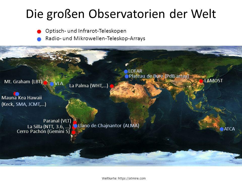 Weltkarte: https://atmire.com Die großen Observatorien der Welt Paranal (VLT) La Silla (NTT, 3.6,...) Cerro Pachón (Gemini S) Mauna Kea Hawaii (Keck,