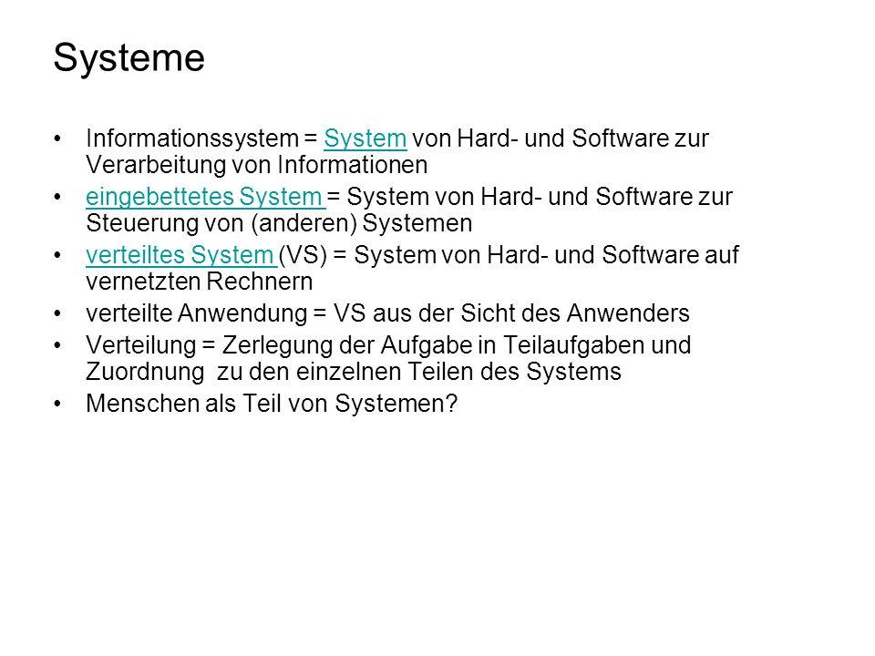 Systeme Informationssystem = System von Hard- und Software zur Verarbeitung von InformationenSystem eingebettetes System = System von Hard- und Softwa