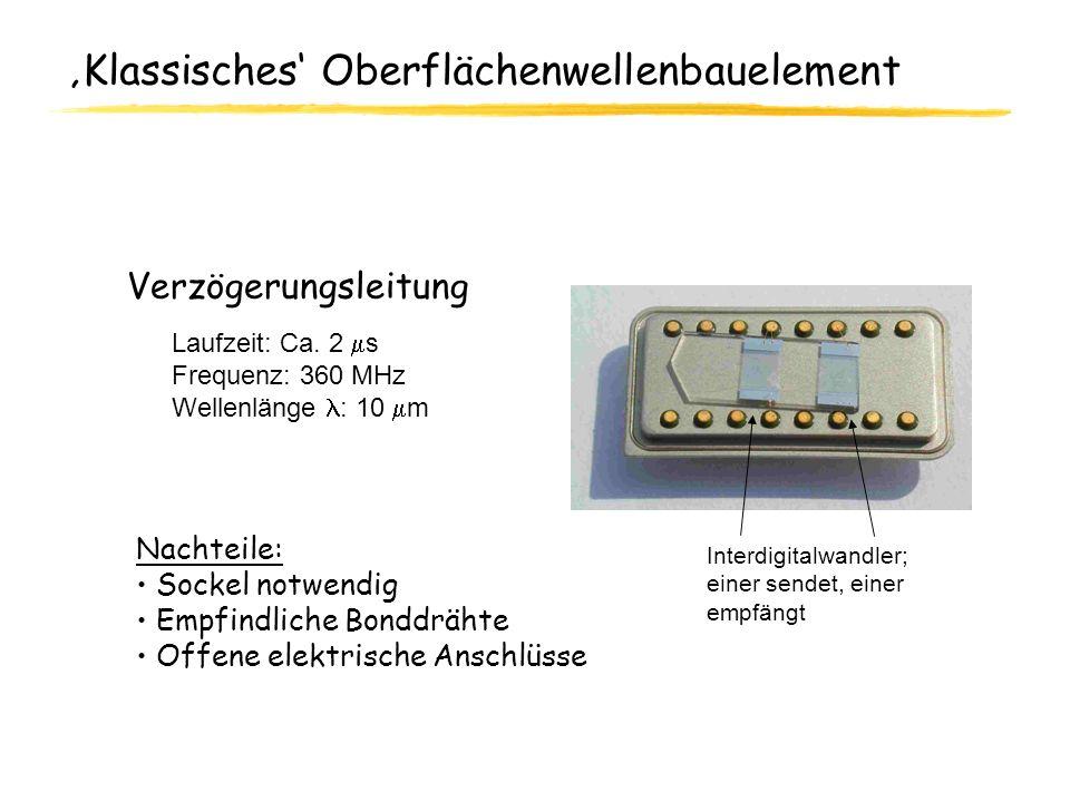 Klassisches Oberflächenwellenbauelement Verzögerungsleitung Laufzeit: Ca. 2 s Frequenz: 360 MHz Wellenlänge : 10 m Nachteile: Sockel notwendig Empfind