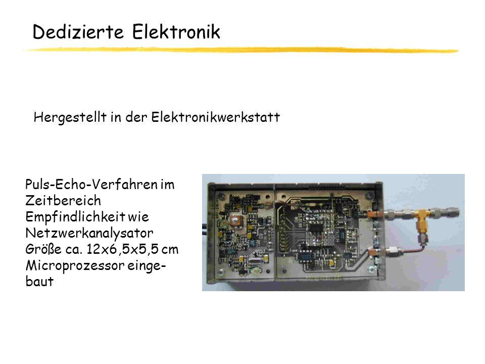 Dedizierte Elektronik Puls-Echo-Verfahren im Zeitbereich Empfindlichkeit wie Netzwerkanalysator Größe ca. 12x6,5x5,5 cm Microprozessor einge- baut Her