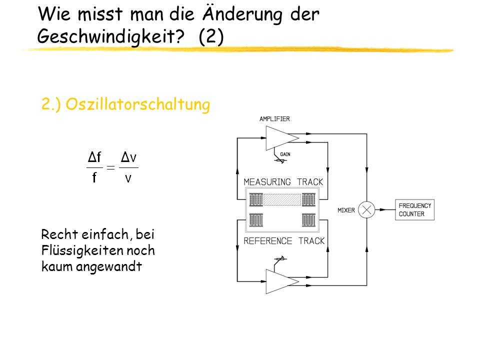 Wie misst man die Änderung der Geschwindigkeit? (2) 2.) Oszillatorschaltung Recht einfach, bei Flüssigkeiten noch kaum angewandt