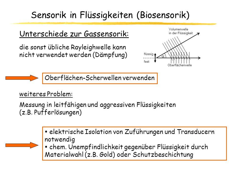 Sensorik in Flüssigkeiten (Biosensorik) elektrische Isolation von Zuführungen und Transducern notwendig chem. Unempfindlichkeit gegenüber Flüssigkeit