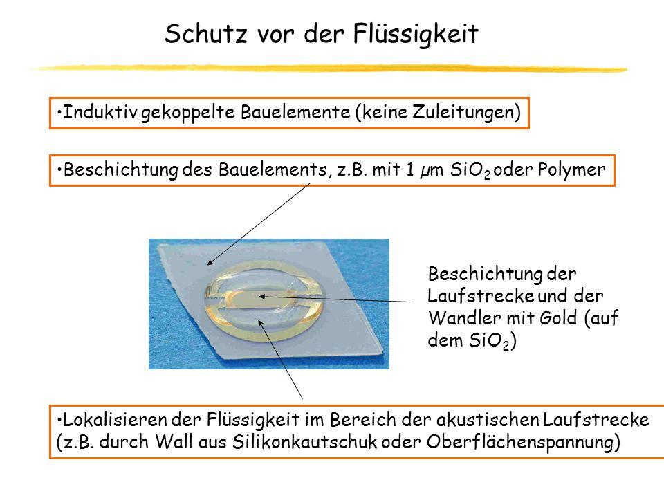 Schutz vor der Flüssigkeit Induktiv gekoppelte Bauelemente (keine Zuleitungen) Beschichtung des Bauelements, z.B. mit 1 µm SiO 2 oder Polymer Lokalisi