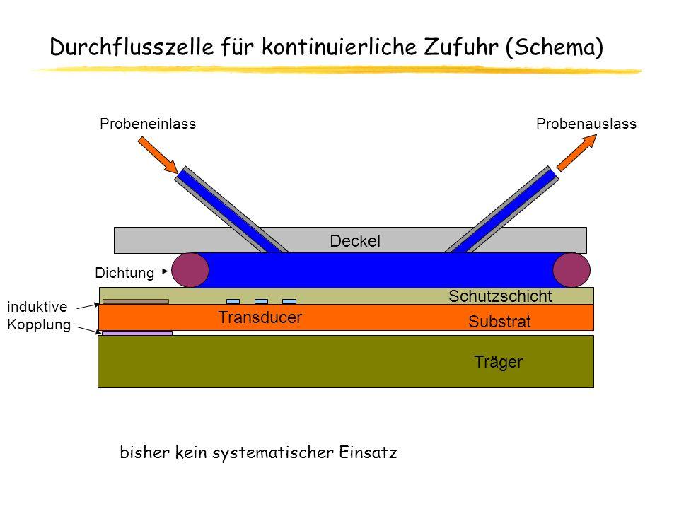 Durchflusszelle für kontinuierliche Zufuhr (Schema) bisher kein systematischer Einsatz Probenauslass Substrat Schutzschicht Träger Dichtung Probeneinl