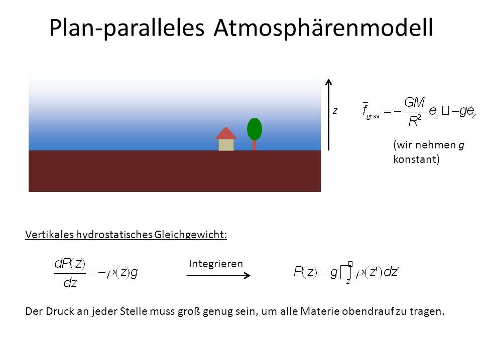 Plan-paralleles Atmosphärenmodell z (wir nehmen g konstant) Vertikales hydrostatisches Gleichgewicht: Integrieren Der Druck an jeder Stelle muss groß