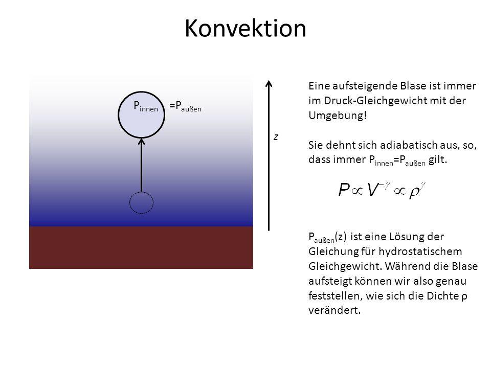 z P innen =P außen Eine aufsteigende Blase ist immer im Druck-Gleichgewicht mit der Umgebung! Sie dehnt sich adiabatisch aus, so, dass immer P innen =