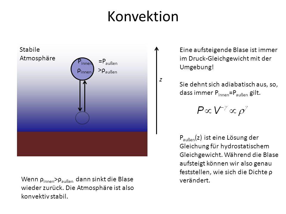 Konvektion z P innen =P außen ρ innen >ρ außen Eine aufsteigende Blase ist immer im Druck-Gleichgewicht mit der Umgebung! Sie dehnt sich adiabatisch a