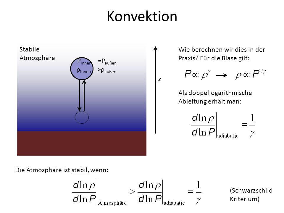 Konvektion z P innen =P außen ρ innen >ρ außen Wie berechnen wir dies in der Praxis? Für die Blase gilt: Stabile Atmosphäre Als doppellogarithmische A