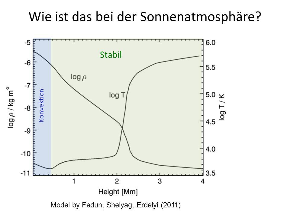 Wie ist das bei der Sonnenatmosphäre? Model by Fedun, Shelyag, Erdelyi (2011) Konvektion Stabil
