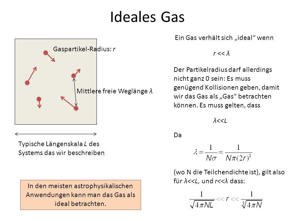 Ideales Gas Gaspartikel-Radius: r Mittlere freie Weglänge λ Ein Gas verhält sich ideal wenn r << λ Der Partikelradius darf allerdings nicht ganz 0 sei