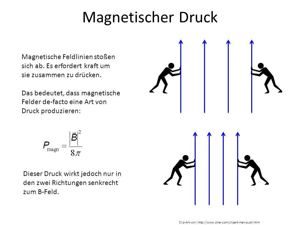 Magnetischer Druck Magnetische Feldlinien stoßen sich ab. Es erfordert kraft um sie zusammen zu drücken. Das bedeutet, dass magnetische Felder de-fact