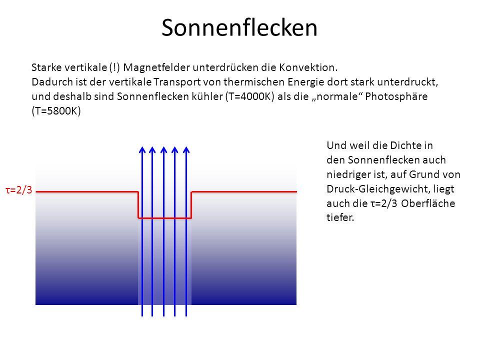 Sonnenflecken Starke vertikale (!) Magnetfelder unterdrücken die Konvektion. Dadurch ist der vertikale Transport von thermischen Energie dort stark un