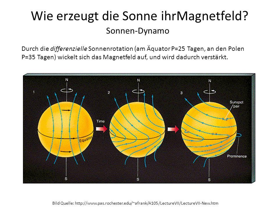 Wie erzeugt die Sonne ihrMagnetfeld? Bild Quelle: http://www.pas.rochester.edu/~afrank/A105/LectureVII/LectureVII-New.htm Sonnen-Dynamo Durch die diff