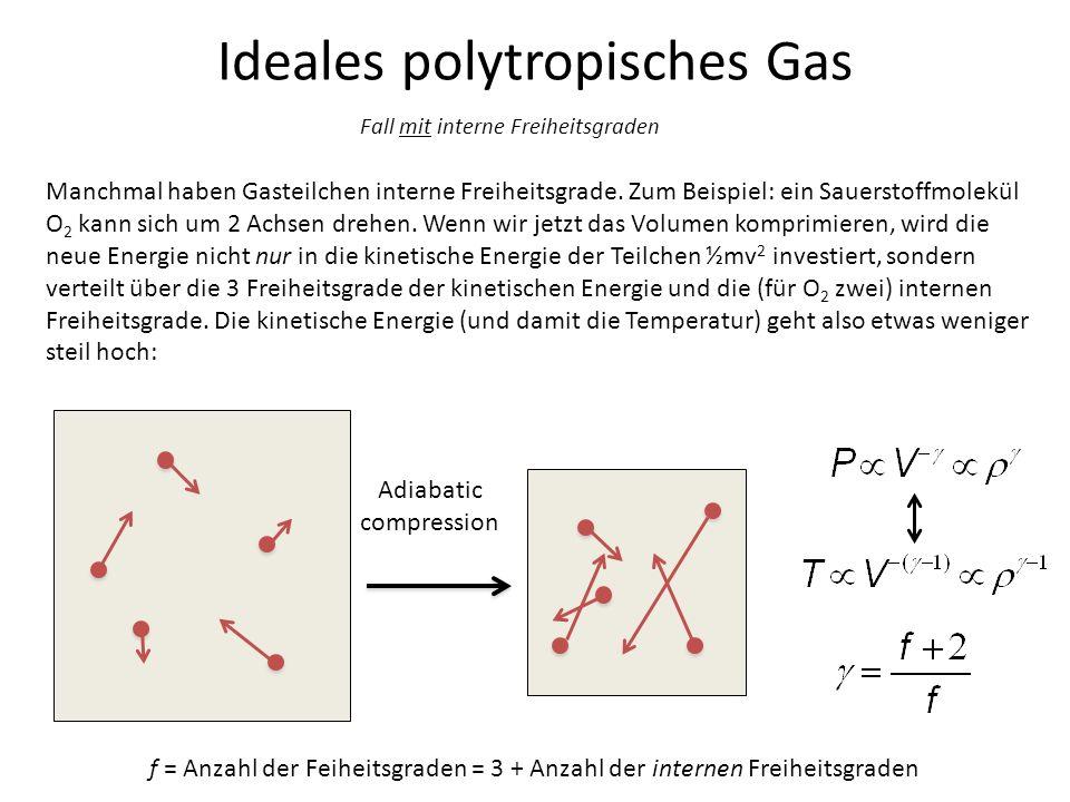 Ideales polytropisches Gas Adiabatic compression Manchmal haben Gasteilchen interne Freiheitsgrade. Zum Beispiel: ein Sauerstoffmolekül O 2 kann sich