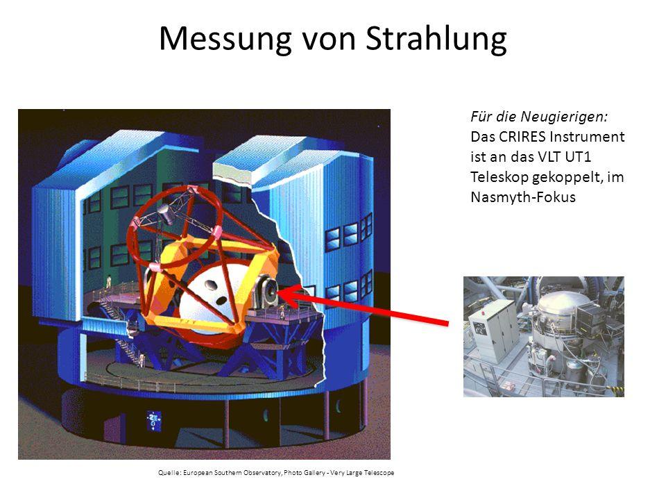 Messung von Strahlung Für die Neugierigen: Das CRIRES Instrument ist an das VLT UT1 Teleskop gekoppelt, im Nasmyth-Fokus Quelle: European Southern Obs
